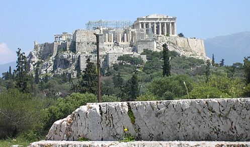 Foreshortened Pnyx Hill with View to Parthenon (Courtesy © Wikipedia)