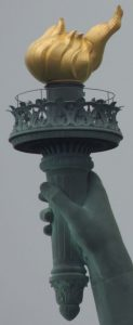 This Statue announcing the benefits of Liberty is one of the most recognizable icons of the United States and was often one of the first glimpses of the United States for millions of immigrants after ocean voyages from Europe.